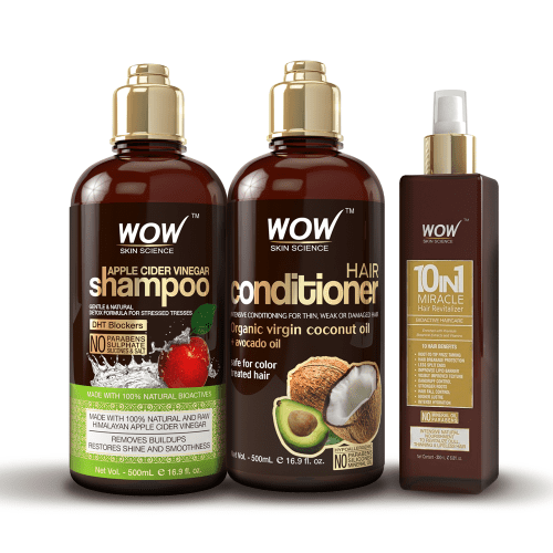 WOW Apple Cider Vinegar Shampoo and Conditioner Set + Hair Revitalizer