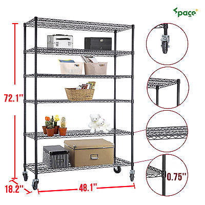 "6 Tier Adjustable 82""x48""x18"" Steel Layer Wire Shelving Rack Shelf"