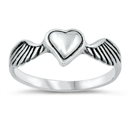 Oxidized Sterling Silver Angle Of Love Wings Ring Size 10