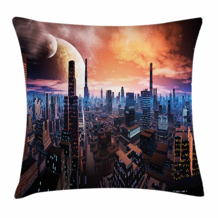 City Throw Pillow Cushion Cover, Futuristic Cityscape on Distant World Sci-Fi Inspired Design Planets in Sky, Decorative Square Accent Pillow Case, 16 X 16 Inches, Orange Blue Cinnamon, by (Best Cinnamon In The World)