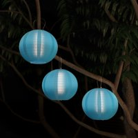 Chinese Lanterns-Hanging Fabric Lamps with Solar Powered LED Bulbs and Hanging Hooks-Perfect for Patio, Trees, or Porch by Pure Garden (Set of 3-Blue)