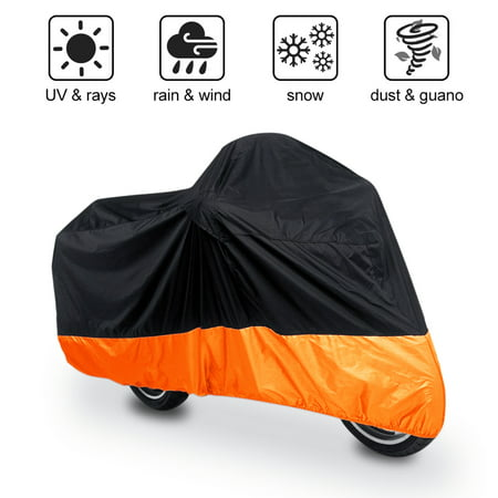 XL Black+Orange Motorcycle Waterproof For Harley Davidson UV Protective Breathable Cover Outdoor (Protective Motorcycle)