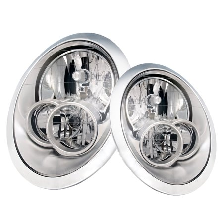 PERDE 05-06 Mini Cooper Hatchback/ 07-08 Convertable Only Halogen Headlight Set - Chrome Housing Performance Lens MC2502102 and MC2503102