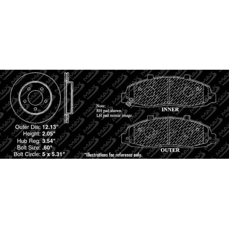 Max Brakes Front Premium Brake Kit [ OE Series Rotors + Metallic Pads ] TA055641   Fits: 2003 03 Ford F-150 4WD Models w/ 5 Lugs Rotor - image 5 de 8