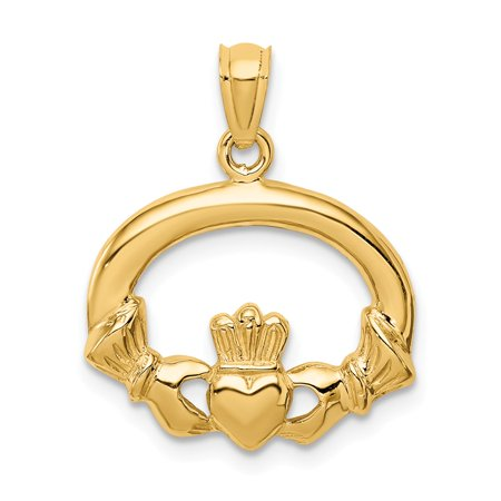 Roy Rose Jewelry 14k Yellow Gold Polished Claddagh Pendant
