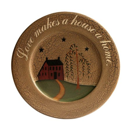 CVHOMEDECO. Primitive Country House Willow Tree Footpath Wood Decorative Plate Round Crackled Display Wooden Plate Home Décor Art, 9-1/2