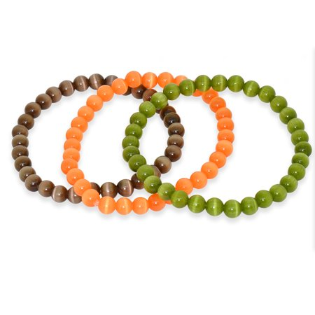 6MM Three Piece Stackable Cats Eye Stretchy Bracelets
