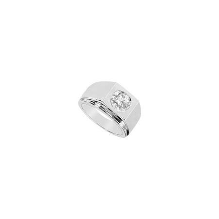 14K White Gold 0.50 CT Diamond Ring for Mens, Size 7.5 (14k White Gold Ring For Men)