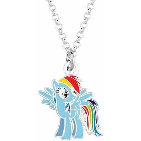 My Little Pony Fine Silvertone Rainbow Dash Pendant Necklace