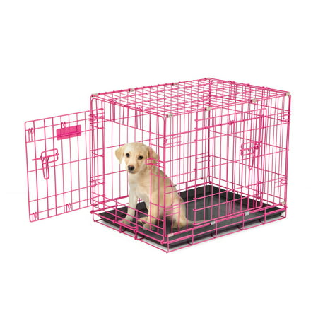 Petmate 24 Inch Adjustable Puppy Dog 2 Door House Training Crate Kennel,