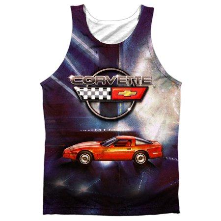 Chevy Corvette Fuel Tank (Chevrolet Autos Chevy Corvette In Lines Of Light Front/Back Print Tank Top Shirt )