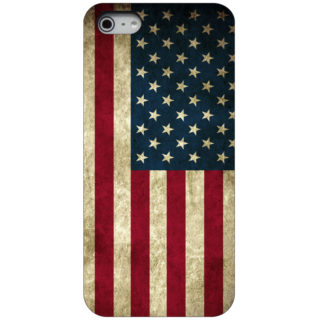 CUSTOM Black Hard Plastic Snap-On Case for Apple iPhone 5 / 5S / SE - Red White Blue United States Flag Old