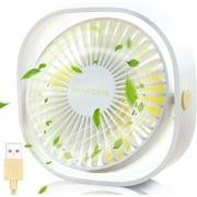 USB Fan, Mini Fan USB Desk Fan, Small Fan Quiet 3 Speeds, USB Desk Fan Low Noise, USB Fan Easy to Carry, for Office, Home and Outdoors