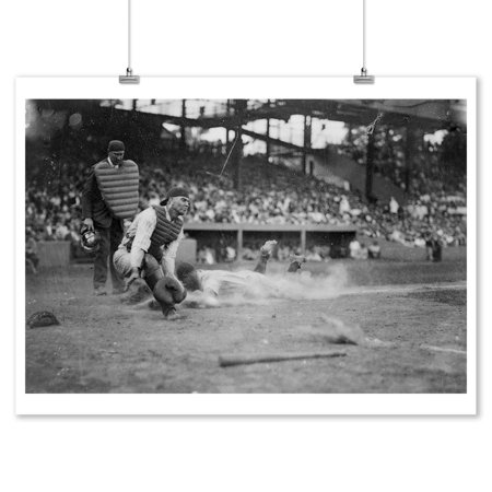Lou Gehrig Sliding into Home Plate Baseball - Vintage Photograph (9x12 Art Print, Wall Decor Travel (Art Plates Baseballs)