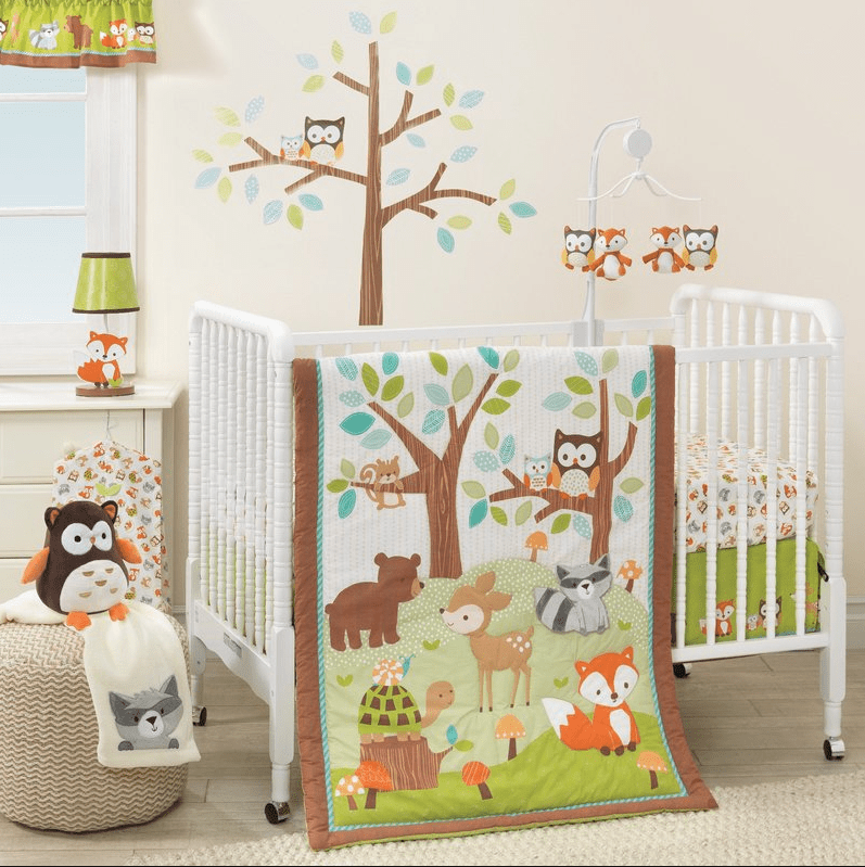 Rose Pink Woodland Friends 4 Piece Forest Animal Girl Baby Crib Bedding Set