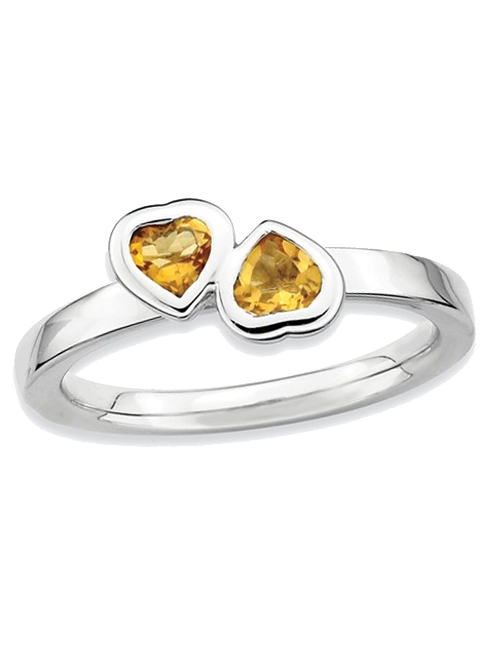 2/5 Carat Natural Citrine Twin Heart Ring in Sterling Silver