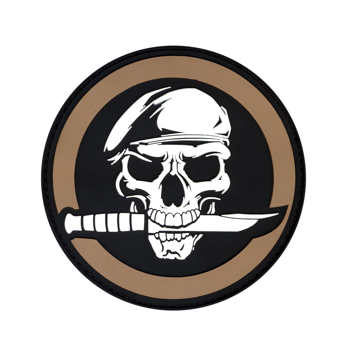 "Rothco PVC Military Skull/Knife 2.75"" Patch, Coyote Brown"