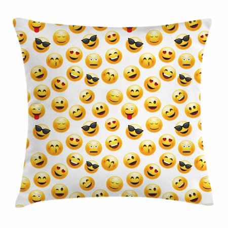 Emoji Throw Pillow Cushion Cover, Smiley Face Character Illustration Feeling Happy Surprised Cool and In Love, Decorative Square Accent Pillow Case, 18 X 18 Inches, Yellow Red Black, by Ambesonne - Smiley Face Cushion