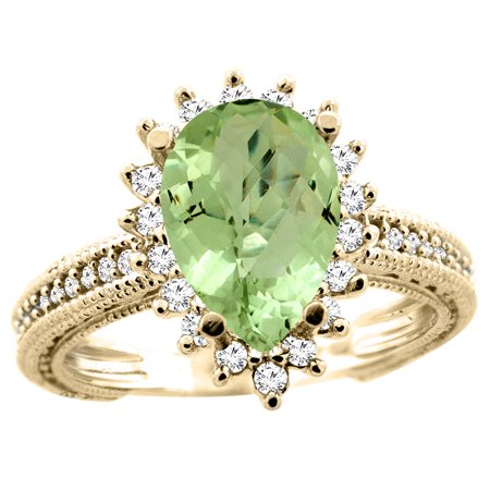 10K Yellow Gold Natural Peridot Ring Pear 12x8mm Diamond Accent, size (Pear Peridot Ring)