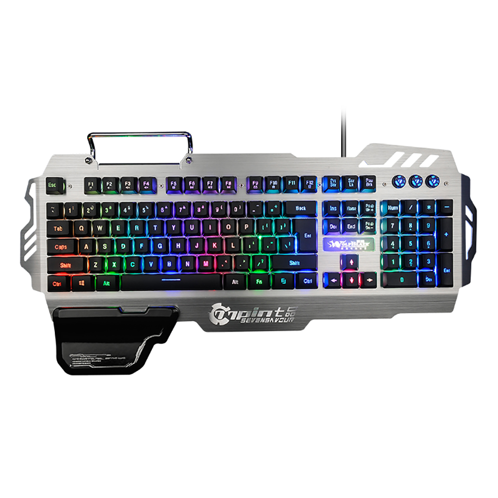 7pin PK-900 Gaming Keyboard RGB Backlight Computer Keyboard with Mobile Phone Holder Wrist Rest Silver