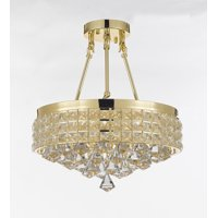 Semi Flush Mount French Empire Crystal Chandelier Gold