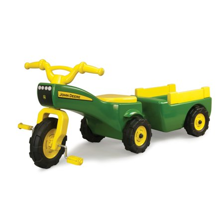 John Deere Pedal Tractor And Wagon, Kids Ride On Tractor Tricycle, Green + Yellow John Deere Tricycle