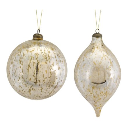 Silver Ball Drop - Set of 8 Ivory and Silver Antique Finish Spherical Ball and Drop Assorted Ornaments 10