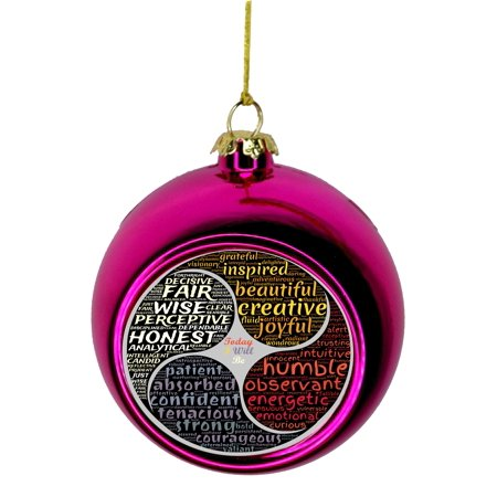 Meditation Balm - Good Personality Character Traits Zen Meditation Bauble Christmas Ornaments Pink Bauble Tree Xmas Balls