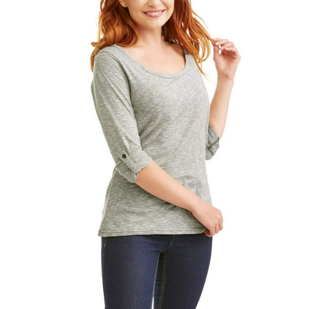 Poof! Women's Long Sleeve Twisted Scoop Neck Striped T-Shirt