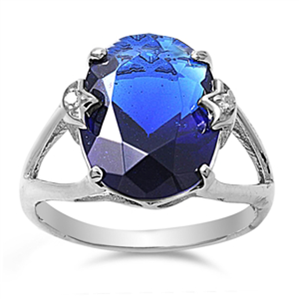 Rainbow Simulated Topaz Oval Solitaire Elegant Ring ( Sizes 5 6 7 8 9 10 ) 925 Sterling Silver Band Rings (Size 10)