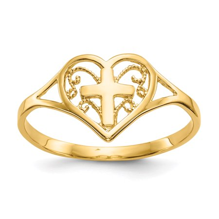 14k Yellow Gold Heart Cross Religious Band Ring Size 6.75 S/love Fine Jewelry For Women Gift Set ()
