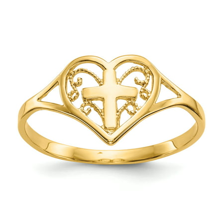 14k Yellow Gold Heart Cross Religious Band Ring Size 6.75 S/love Fine Jewelry For Women Gift