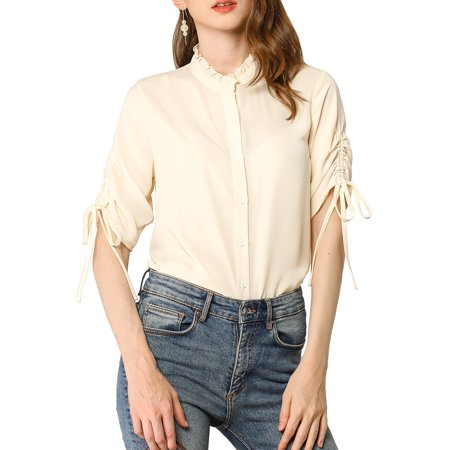 Allegra K Junior's Casual Blouse Ruched Half Sleeve Button Up Shirts Apricot M