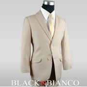 Boys Slim Suit in Khaki Tan Five Piece Outfit