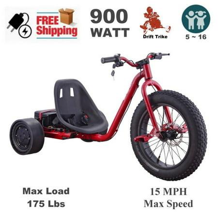 900 Watt 36 V Kids Electric Drift Trike Scooter - Red - Walmart.com 9269f0674f1