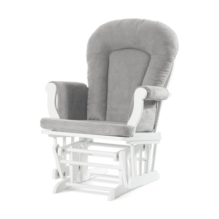 Forever Eclectic Glider and Ottoman, Matte White/Light Gray