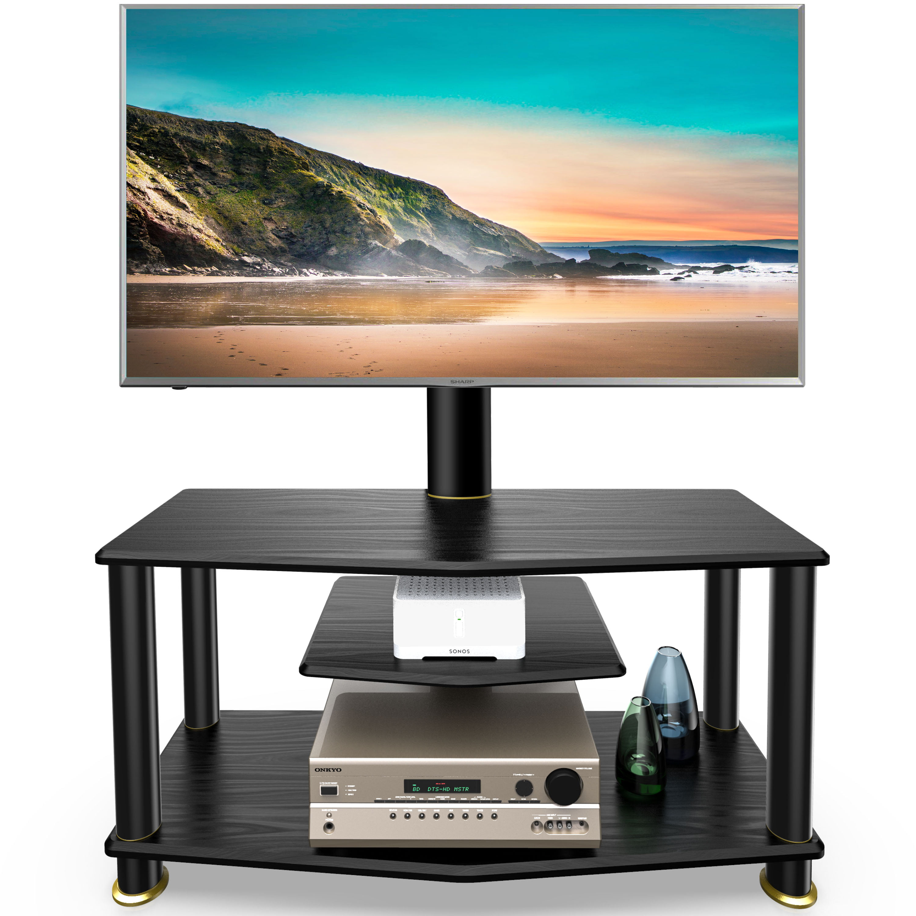 """Fitueyes Corner TV Stand with Swivel Mount for 32/""""-50/"""" TVs Entertainment Center"""