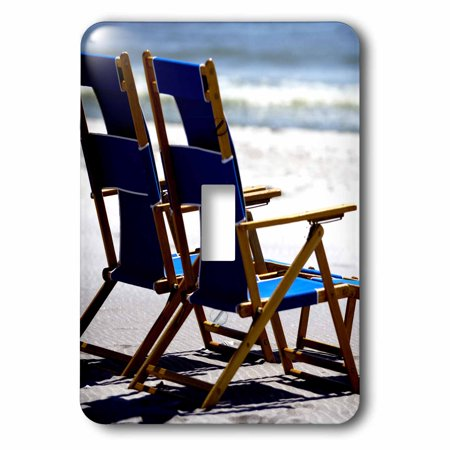 3dRose Beach Chairs, Umbrella, Ship Island, Mississippi - US25 FVI0023 - Franklin Viola, Double Toggle Switch