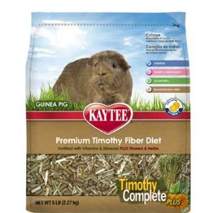Kaytee Timothy Flowers and Herbs Complete Plus Guinea Pig Food, 5-Pound Multi-Colored