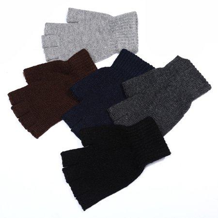 Men Knitted Wool Outdoor/Indoor Warm Fingerless Half Finger Mittens Riding Gloves Black Free size