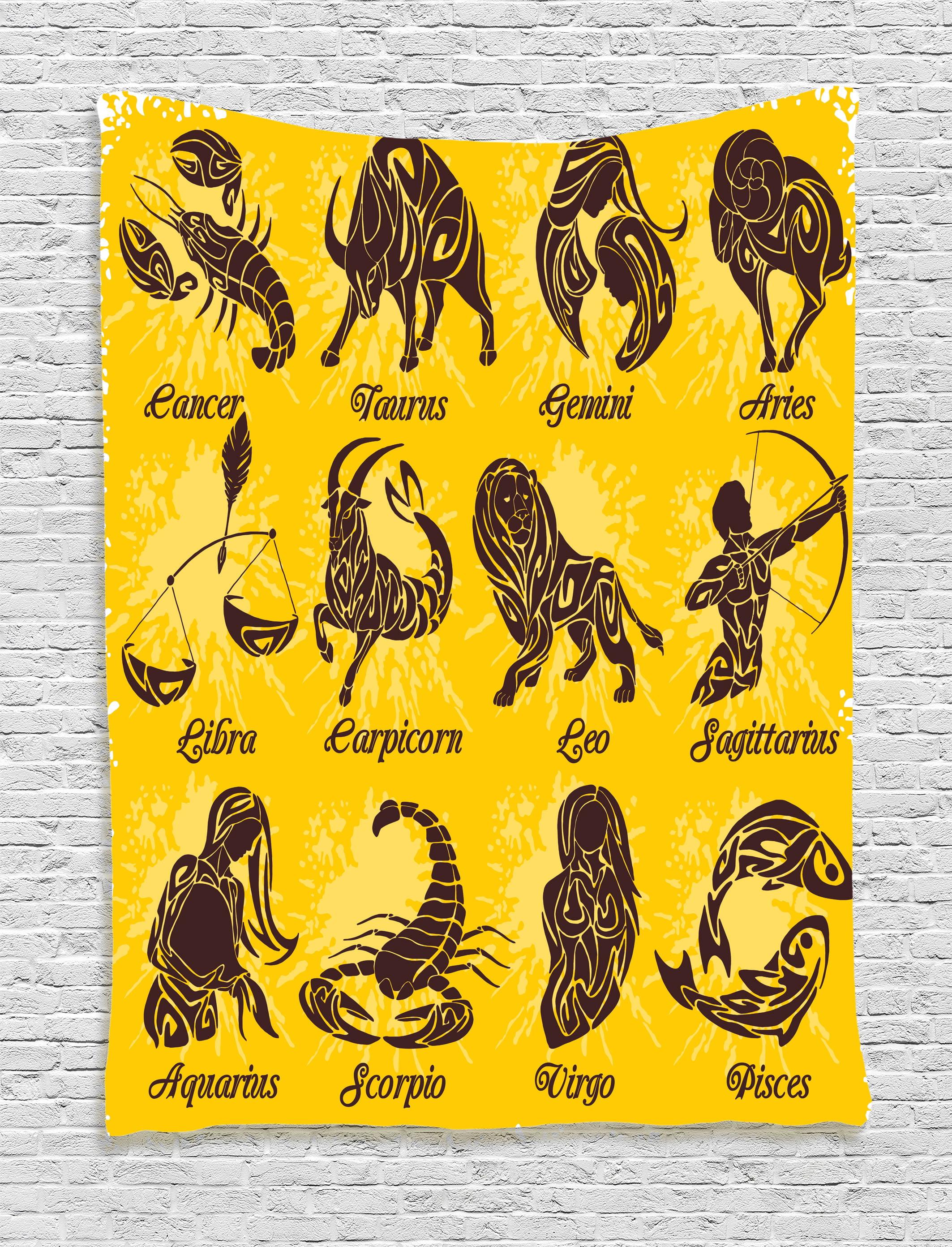 Zodiac Decor Tapestry, Signs on Grungy Background Solar Celestial ...