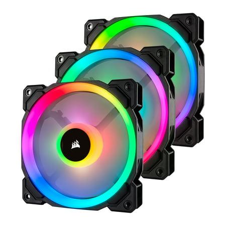 Corsair LL Series LL120 RGB 120mm Dual Light Loop RGB LED PWM Fan 3 Fan Pack with Lighting Node Pro -