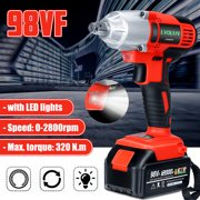 98VF 320NM 12000mAh Cordless Electric Impact Wrench Drill Screwdriver High Torque 110-240V LED Light with One Battery