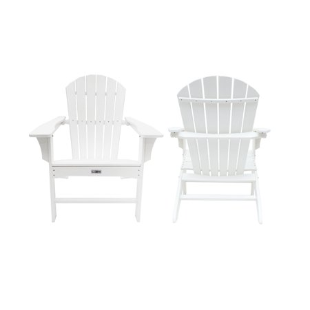 LuXeo Hampton White Poly Outdoor Adirondack Chair (2 Pack) ()