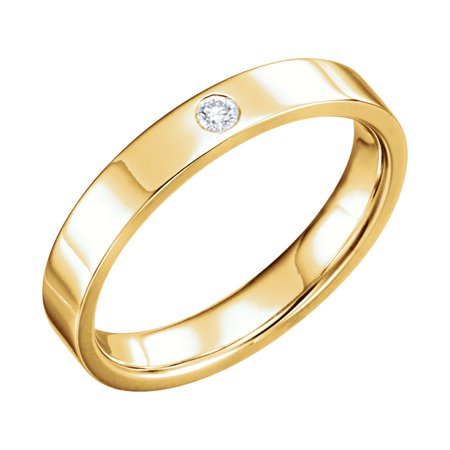 14k 2.5 Mm Diamond - Jewels By Lux 14K Yellow Gold 4 mm 2.5 mm Polished .06 Ctw Diamond Flat Comfort Fit Wedding Ring Band Size 11