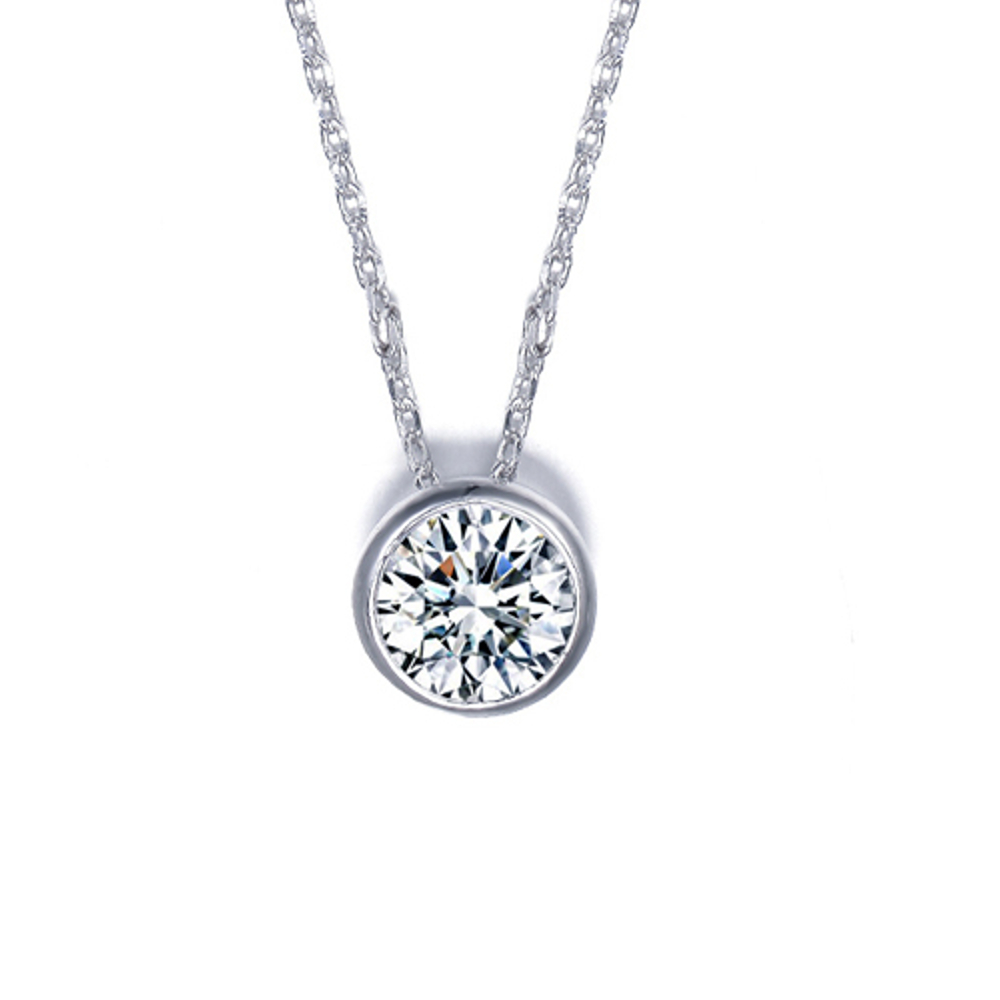 18K White Gold Plated Classic 1 Carat Cubic Zirconia Solitaire Pendant - image 1 of 1