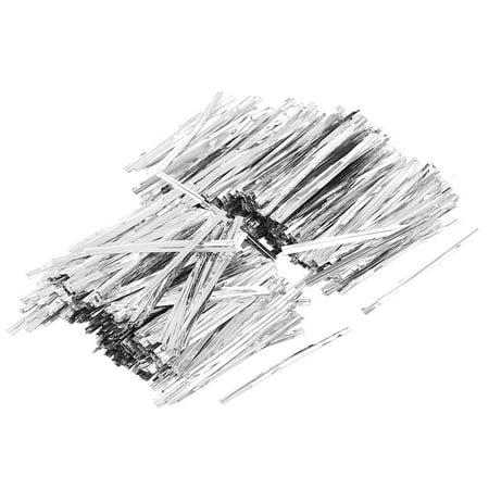 Unique Bargains 3000pcs 7cm Silver Tone Metal Twist Tie Cello Candy Bag Wrapping String Stripe](Silver Twist Ties)
