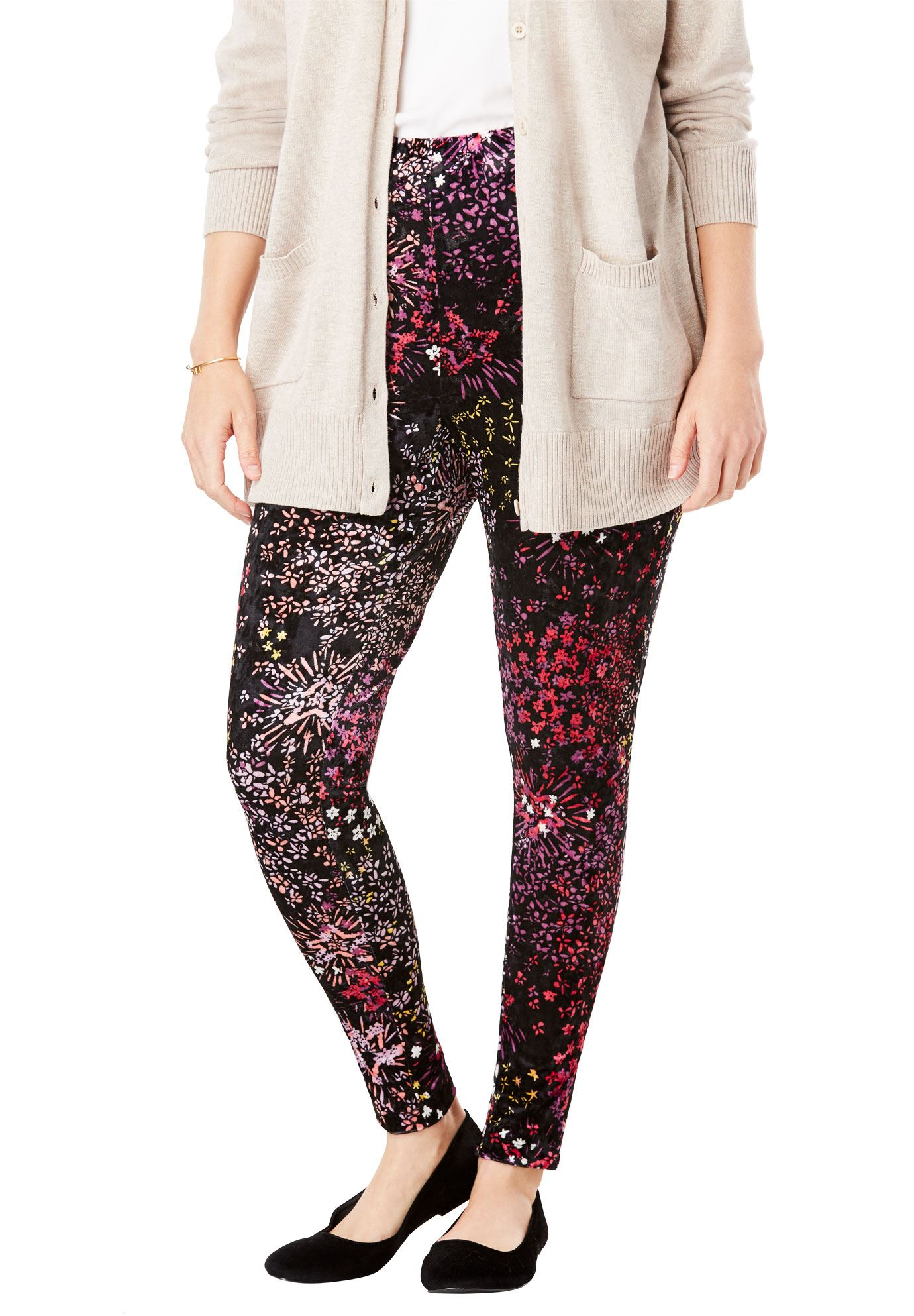 Woman Within Plus Size Crushed Velour Leggings