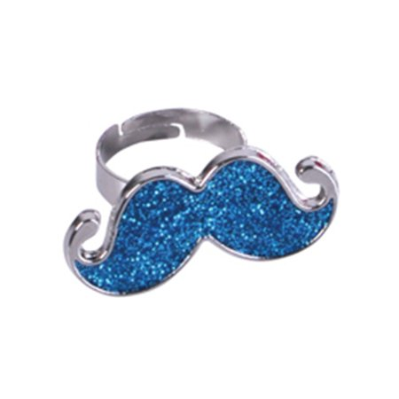 Blue Silver Hipster Trendy Costume Moustache Shiny Sparkle Bling Ring - Trendy Costume Ideas