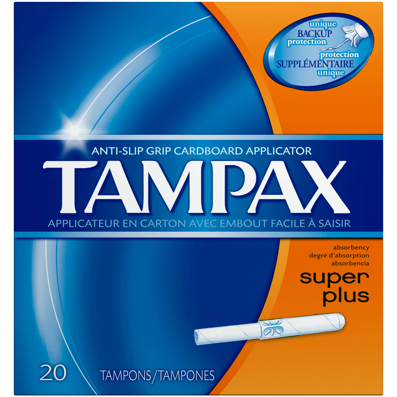 Tampax Anti-Slip Grip Cardboard Applicator Super Plus Absorbency Tampons, (Choose your Count)